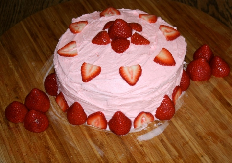 A bright pink strawberry cake for my boy!